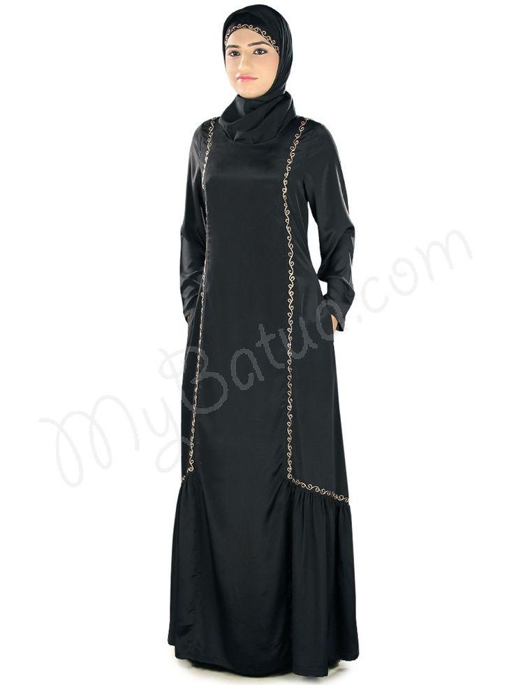 Elegant Embroidered Black Party Wear Fathima #Abaya #MyBatua.com Style No : AY-318 Price : $56.30 Available Sizes XS to 7XL