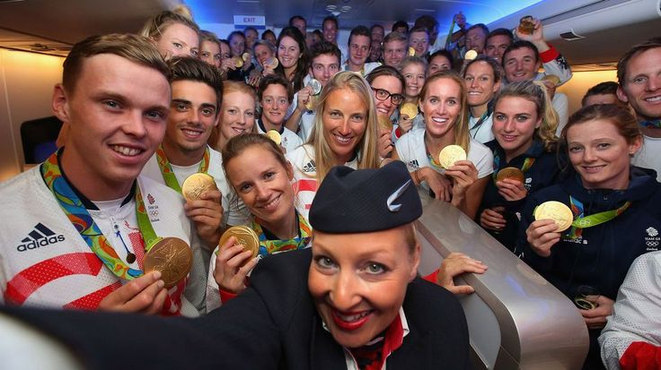 British Olympians live their best lives on the flight back from RioGold medalists of Team GB pose for a selfie with a member of British Airways cabin crew prior to flying back from Rio.  Image: Getty Images for British Airways  By Gianluca Mezzofiore2016-08-23 11:46:59 UTC  Team GB athletes have landed at Heathrow airport in London after making history at the Rio Olympics with 27 golds 23 silvers and 17 bronzes  the biggest medal haul since 1908.  The record-breaking gang returned home with…