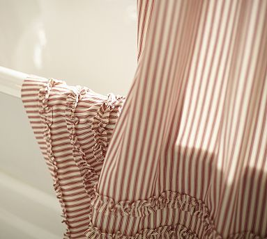 Ticking Stripe Ruffle Shower Curtain   Love In Black Stripe   Great  Bathroom Picture Idea!
