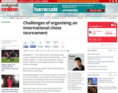 Malay Mail Online: Challenges Of Organising An Internationkl Chess Tournament