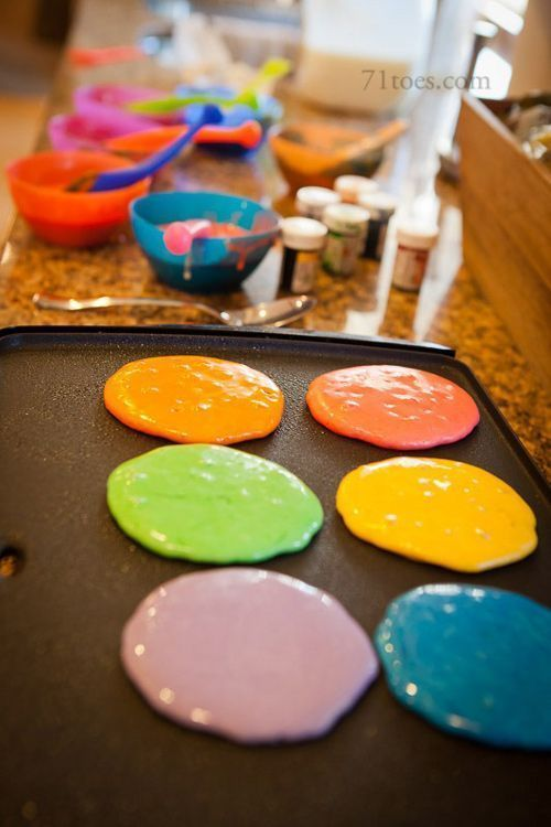 colorful pancakes for Easter breakfast