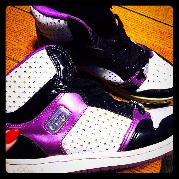 ⚪️⚫️Pastry shoes⚪️⚫️ Purple black white and silver shoes!!! Baby Phat Shoes Athletic Shoes