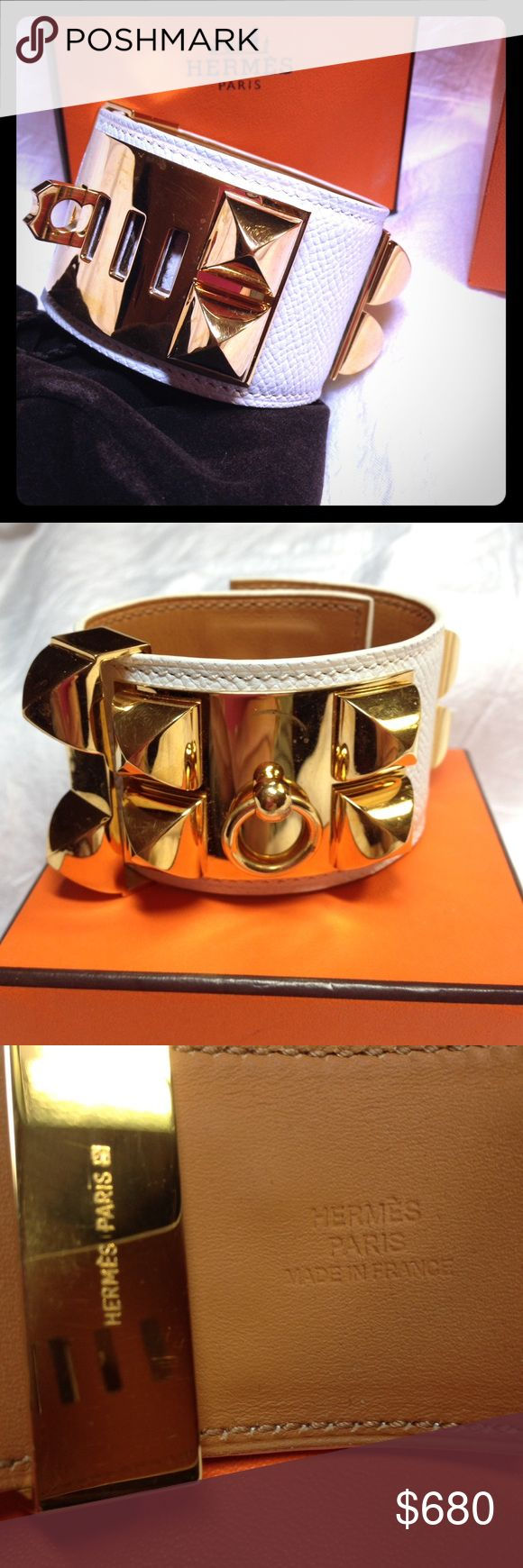 Hermes CDC Kelly Dog Bracelet White/Gold I bought this from the Hermes online site and used 2-3 times. There are tiny scratches from use, the leather is Epsom which is stiff and matte. Gold plated hardware. Includes box and cloth bag. Hermes Accessories