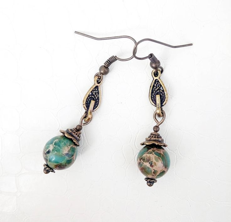 Aqua terra jasper gemstones, bronze earrings by MercysFancy on Etsy