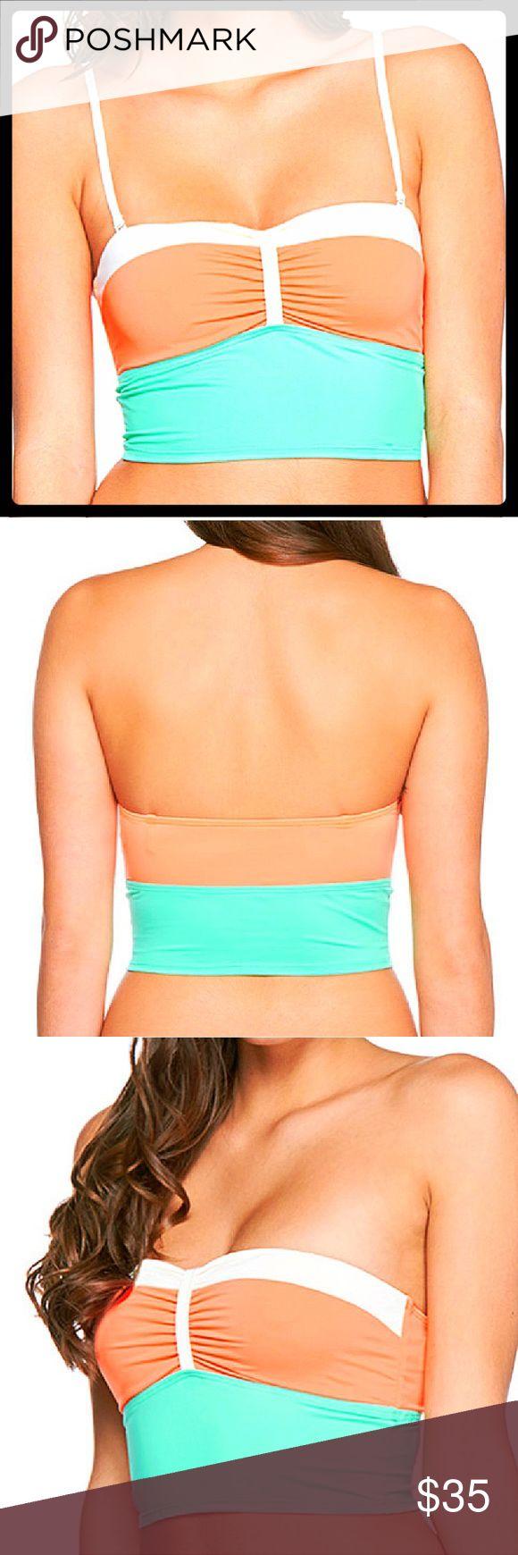 NWOT MINT GREEN & ORANGE SWIM TOP NEW WITHOUT TAG. PRETTY MINT GREEN & ORANGE BANDEAU TOP WITH ADJUSTABLE & REMOVABLE STRAPS. Eidon Swim Bikinis
