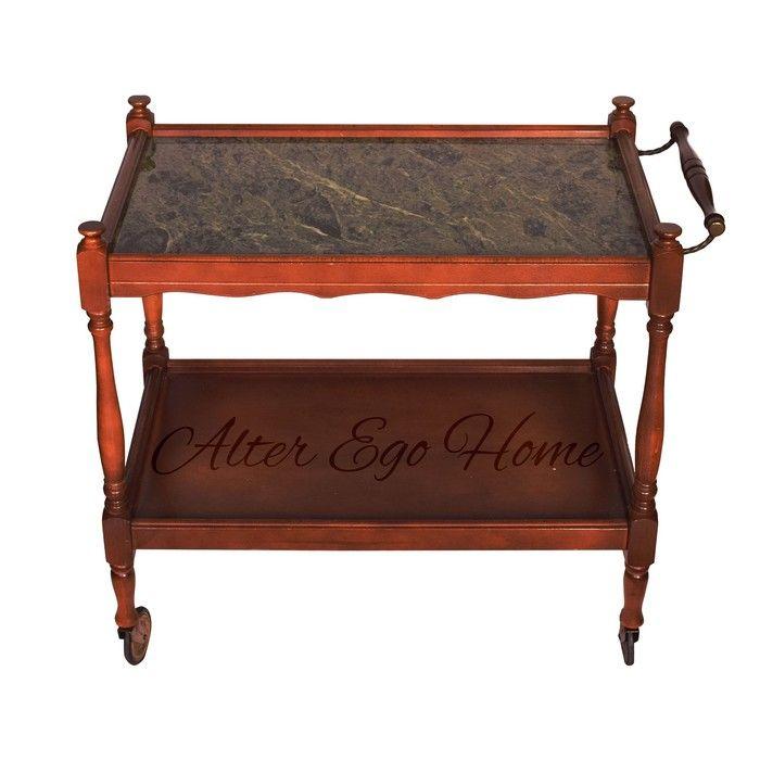 Чайный столик на колесиках с мраморной столешницей