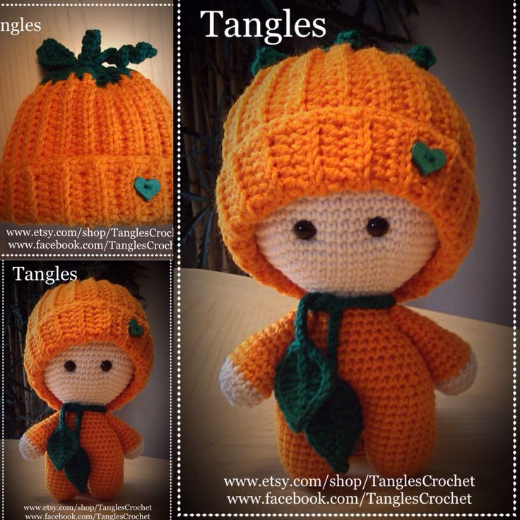 Pumpkin Big Head Baby Doll *Hat crocheted with a pattern by Hopeful Honey.