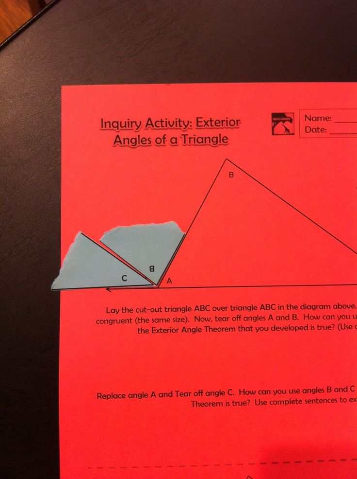 Blog post: Using Hands-On Discoveries in High School- Exterior Angles of a Triangle Theorem & more