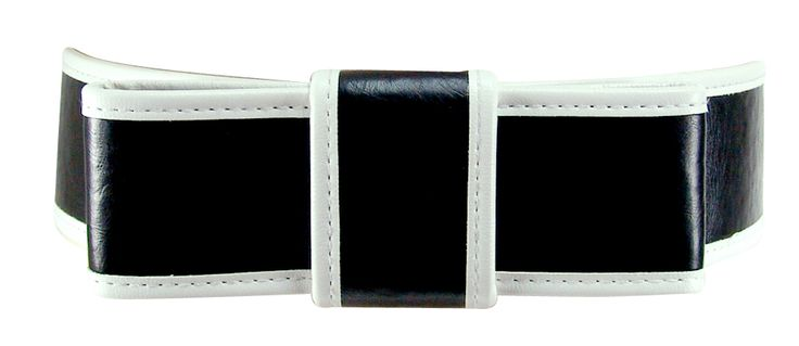 Black bow belt with white trim.
