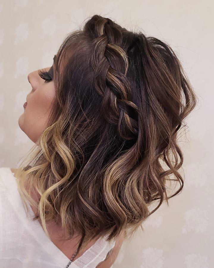 Penteados para cabelos médios: 70 fotos + tutoriais encantadores | Trança cabelo curto, Penteado cabelo curto festa, Penteados