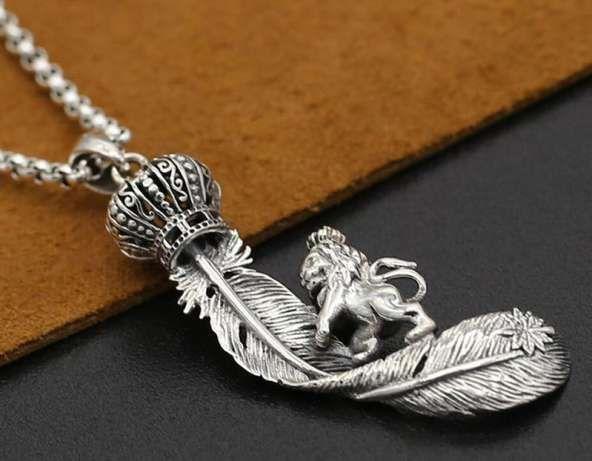 Серебряный кулон унисекс подвеска Лев перо лист на подарок Одесса - изображение 1