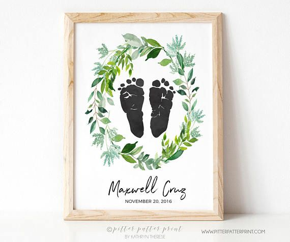 Birth Announcement Wall Art, Watercolor Botanical Wreath Boho Nursery Decor,  Personalized Baby Footprints Your Childu0027s Feet 8x10 in UNFRAMED