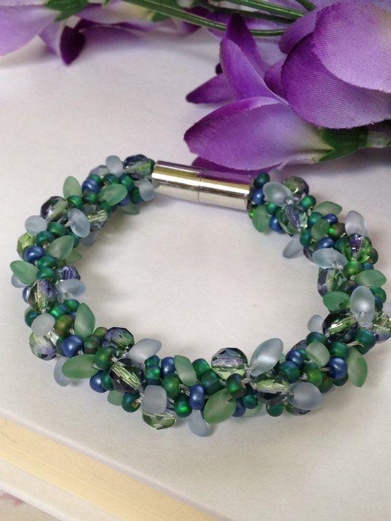Green and blue garden bracelet.