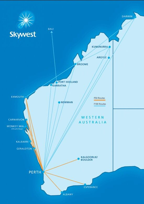 Skywest Airlines, Western Australia Route Map