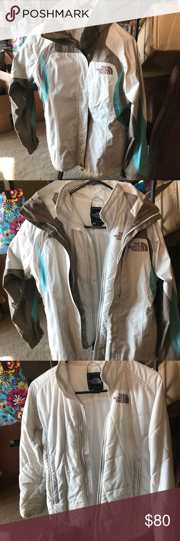 North face winter jacket North face double jacket, it's 2 jackets in one! Very flexible for outdoor activities like skiing/snowboarding/sled riding! Slight discoloration on right pocket. North Face Jackets & Coats