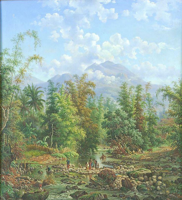 Olieverfschildering voorstellend de rivier Brantas bij Malang door M.E.H.R. van den Kerkhoff, 58 x 53 cm