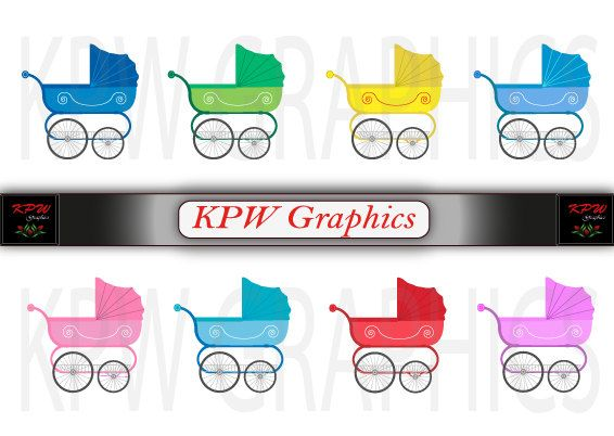 Baby Strollers Clipart Set various colors in high by KPWgraphics