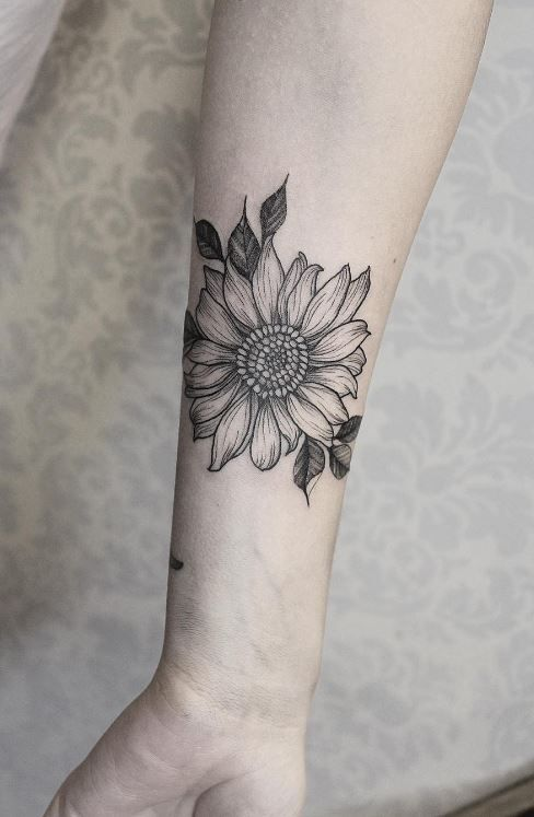 Black & Gray Sunflower Tattoo
