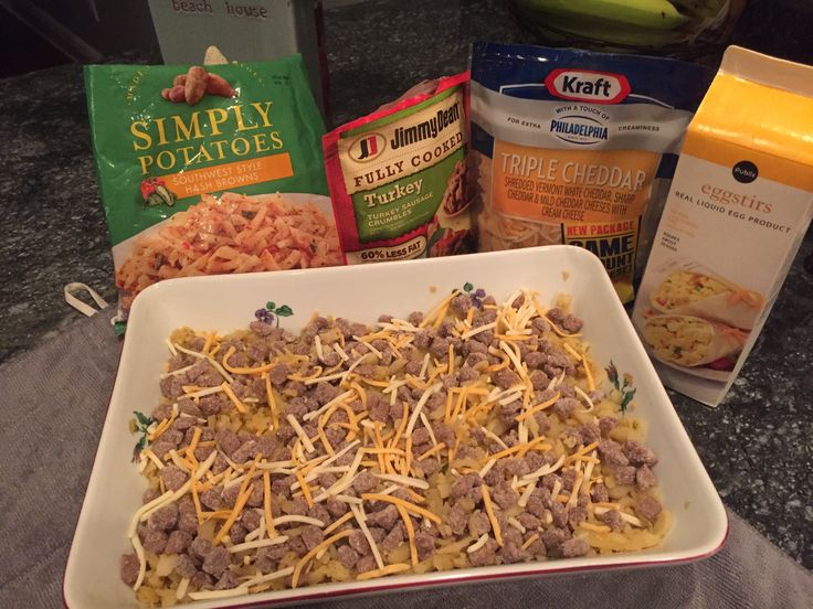 Easy Holiday Southwest Egg Casserole   Bake 1 hour @ 375.    1 pkg Simply Potatoes Southwest Shredded 1 pkg Turkey/pork Jimmy Dean Crumble Sausage 1 cup cheddar cheese 1 carton Egg Beaters or 12 eggs blended with 1 cup milk/cream