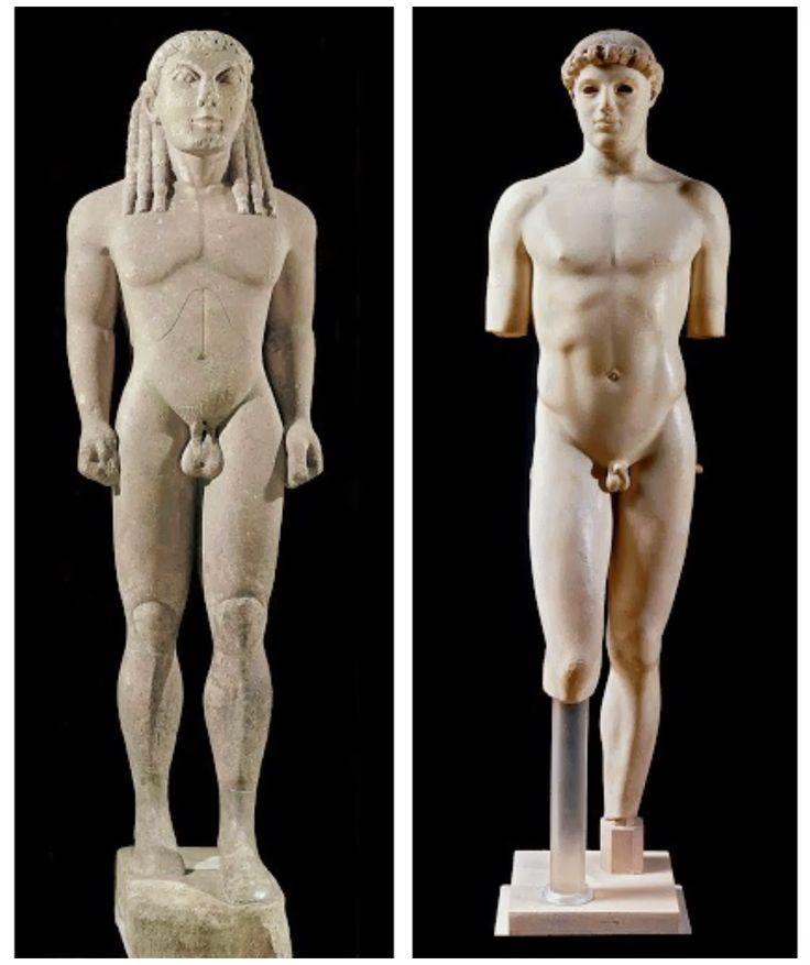A confronto statua classica e statua arcaica, entrambe con lo scopo di esaltare l'uomo al suo meglio. Nella statua classica il corpo è rappresentato in maniera realistica, con la gamba flessa e l'anca sbilanciata; mentre in quella arcaica la muscolatura è esattamente geometrica.
