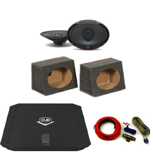 Alpine SPR-69 6x9 Speakers with DUBA2100 Amp, Includes Amp Kit and 6x9 Wedge Box