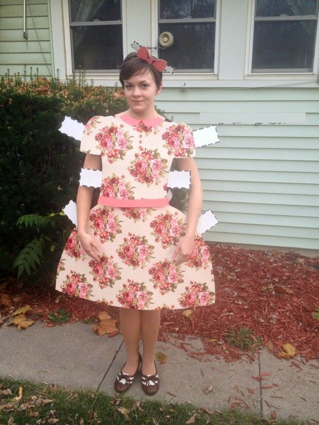 homemade paper doll costume @Lois Hudson we should do this for the girls for the  sc 1 st  Pinterest & 174 best DIY Halloween Costumes images on Pinterest | Paper dolls ...