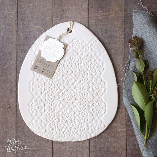 Medium Vintage Lace serving board ~ white 01, Handmade Australian Ceramics - KW Ceramics