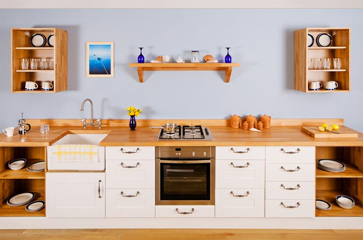 'Oh I do like to be beside the seaside...' In this kitchen, All White painted Shaker frontals fit nicely with the nautical theme. We even used pretty prime 'beech' worktops - get it?!   http://www.deterra-kitchens.co.uk/wooden_worktops/prime-beech-worktops.html http://www.deterra-kitchens.co.uk/all-white-shaker-kitchen-doors-units.html