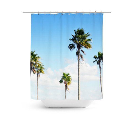 North Beach Palms - Duschvorhang, Beach Surf tropischen Palmen Bäume Accent, Blue & Green Küsten Heim Vanity Badewanne Badezimmer Vorhang. Im 71x74in
