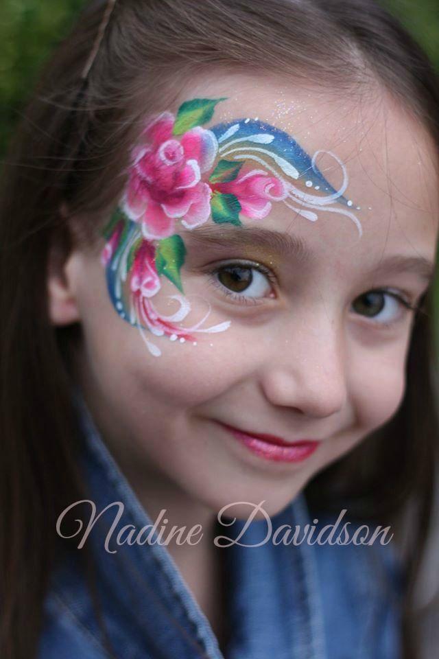 Roses & Rainbows Face Paint | Nadine Davidson | Calgary Face Painter | One-Stroke Rose Face Paint