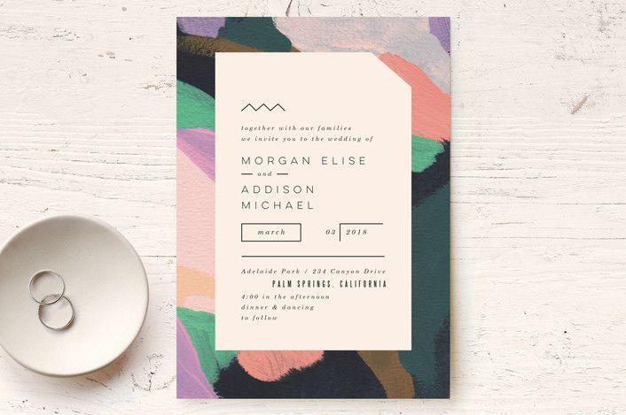 """Adagio"" - Abstract, Modern Wedding Invitations in Lilac by Moglea."