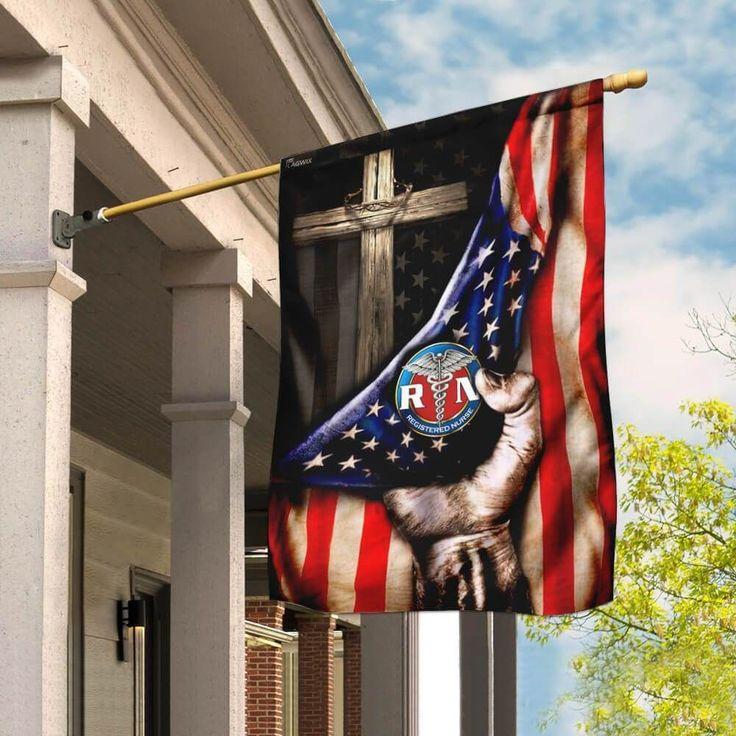 Registered Nurse Christian Cross America Flag Garden Flag Double Sided House Flag In 2021 Cross Flag House Flags Flag