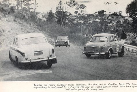 Catalina Park, Katoomba. A Mini comes face to face with a Peugeot 403 and an Austin Lancer who are out for a spin .