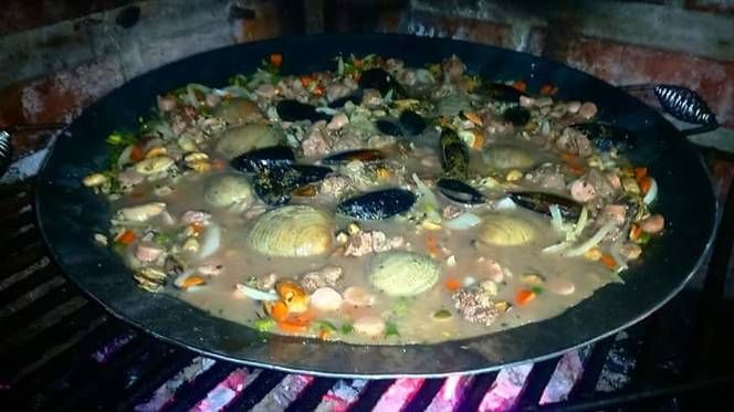 Mix De Mariscos, Carne y Arroz Integral Al Disco