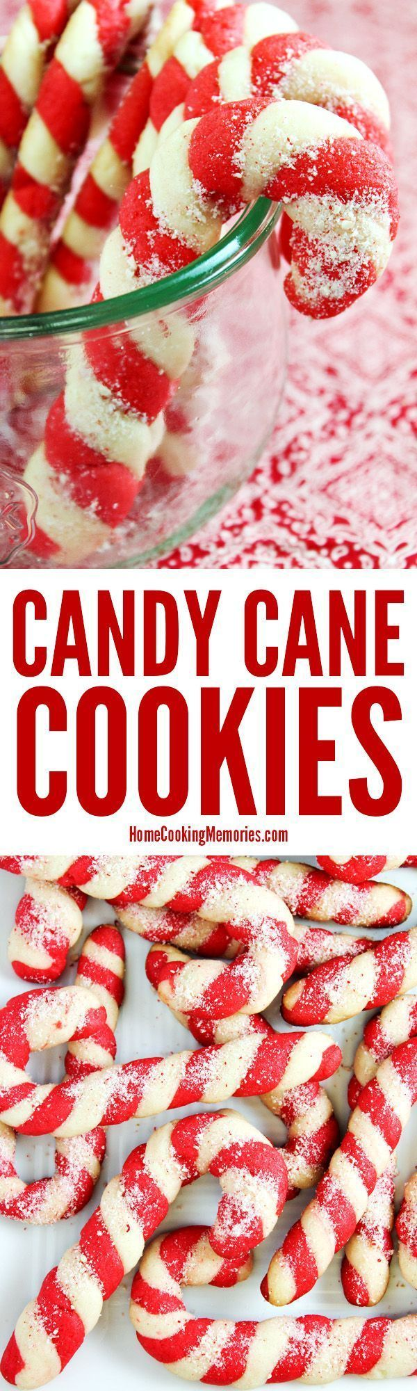 Christmas Candy Cane Cookies recipe! Made from an easy cookie dough recipe with plenty of festive peppermint flavor. The colorful dough is twisted to look like a candy cane. A favorite at holiday parties & cookie exchanges. via /HomeCookMemory/