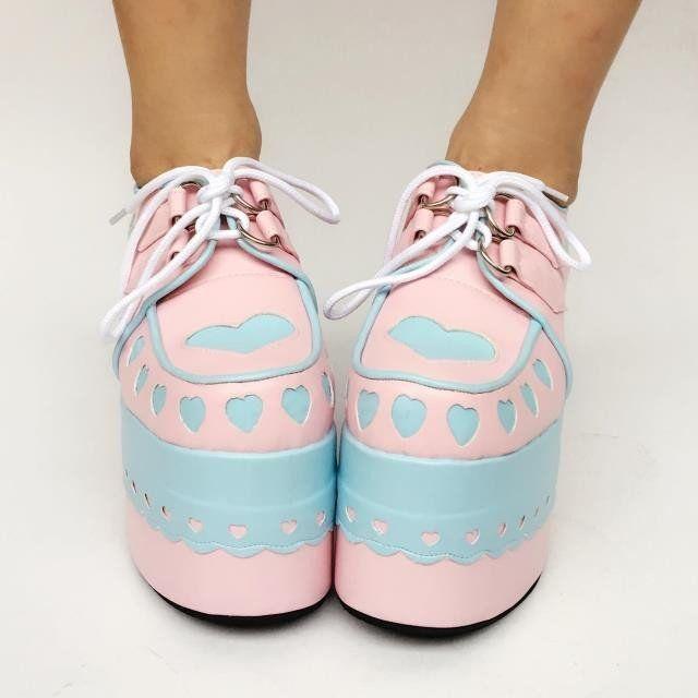 Cute Japanese Heart High Platform Shoes HF00170