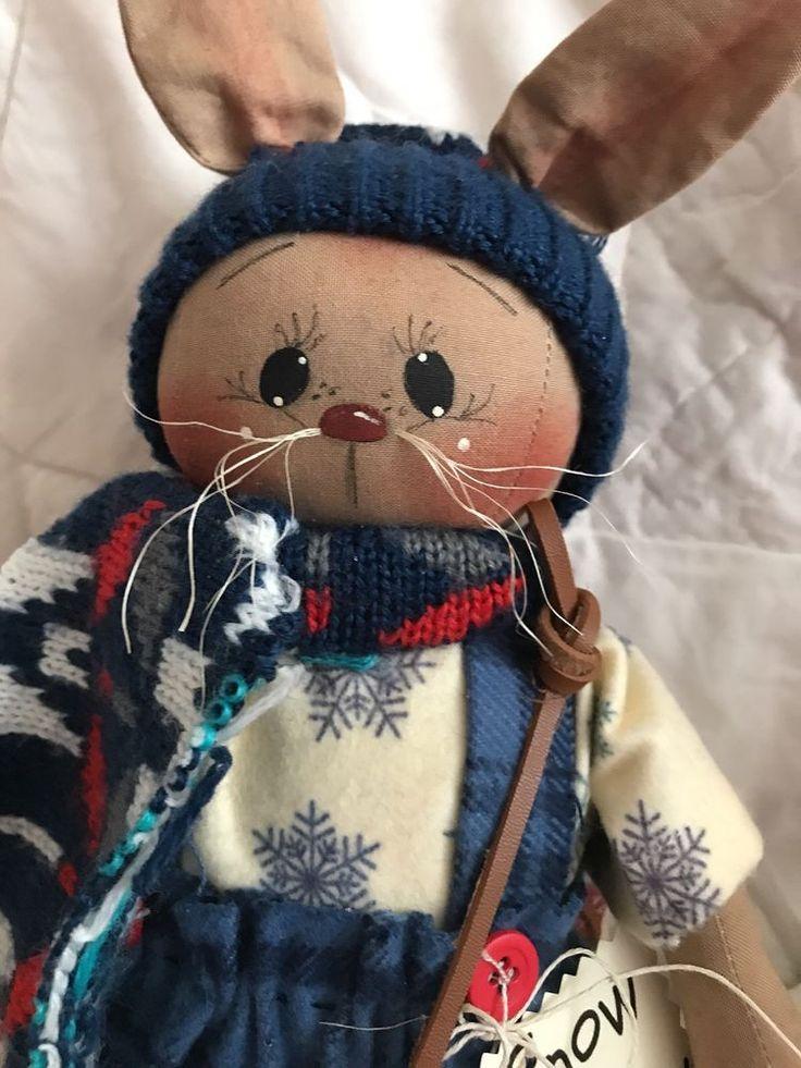 Primitive Folk Art Winter Christmas Snowbunny Holiday Doll & skate Ornies