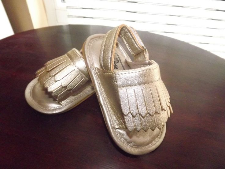 Śliczne złote sandałki dla dziewczynki 12 - 15 miesięcy