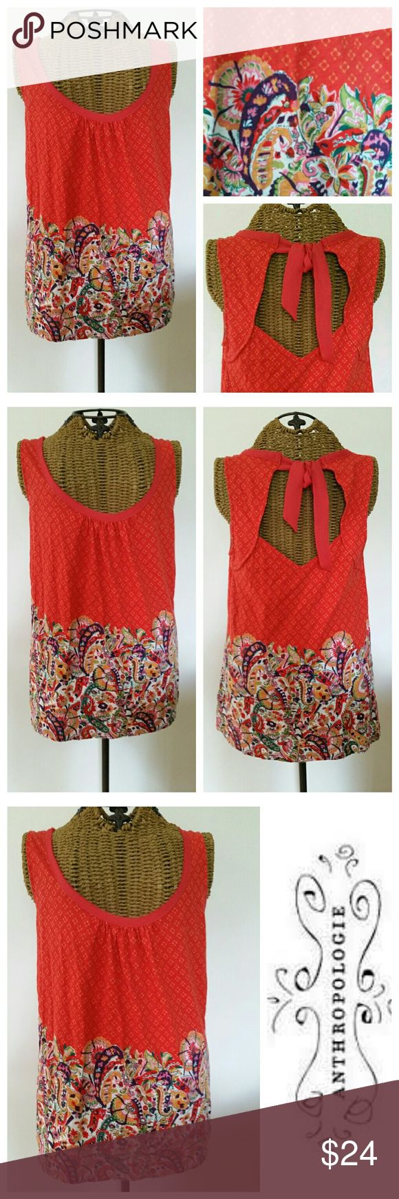 "AKEMI + KIN adorable bow tank top XS Adorable tank Sz XS Orange with cute paisley print Ties in back  Cotton Underarm to underarm 16.5"" Top of shoulder to 25.5"" Very good condition Anthropologie Tops Tank Tops"