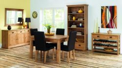 Provence Oak 4- 6 Draw Leaf Ext. Table & 6 Slatted Chairs http://solidwoodfurniture.co/product-details-oak-furnitures-4007--provence-oak-draw-leaf-ext-table-slatted-chairs.html