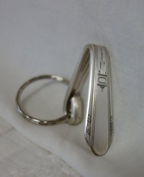 Purse hook keychain Vintage silver plate by handpaintedpinkroses