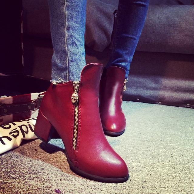 ... mujeres botas de cuero Riding tacones gruesos para mujer Botines  Cremallera la piel de imitación de las señoras zapatos al aire libre Casual  ventas ...