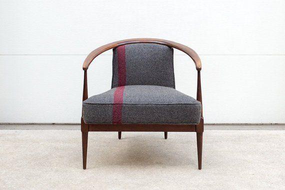 Art Deco meets Mid Century custom upholstered chair.