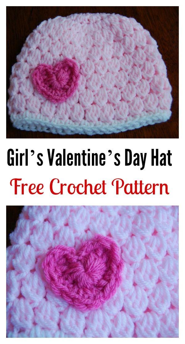 Crochet Girl's Valentine's Day Hat Free Pattern