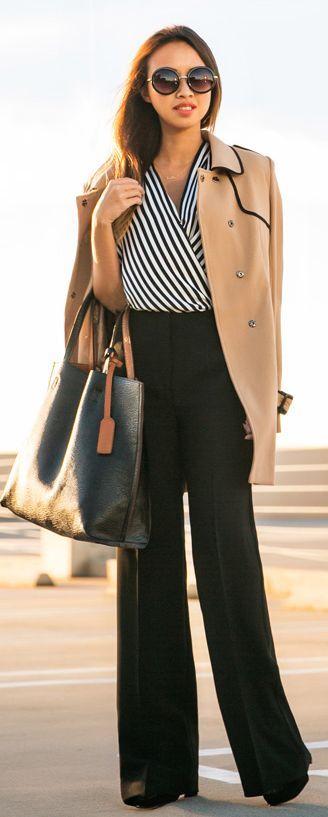 White And Black Stripe Wrap Top