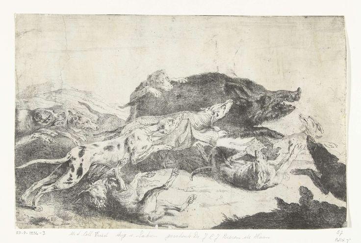 Peeter Boel | Honden jagen een zwijn, Peeter Boel, c. 1650 - c. 1674 | Wildezwijnenjacht. Een roedel honden jaagt een wild zwijn.