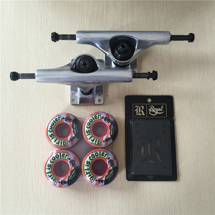 "2016 Free Shipping Skateboard Parts Blank Aluminum 5.25"" Skateboard Trucks And Girl PU Skate Wheels with Royal Riser Pads"