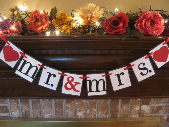 Wedding Banner  Mr. & Mrs. with Hearts Garland Bunting Black Red White Great Photo Prop Can Custom Colors. $18.00, via Etsy.