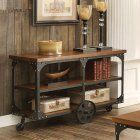 Coaster Furniture Industrial Sofa Table with Shelf and Casters #coasterfurnitureshelves