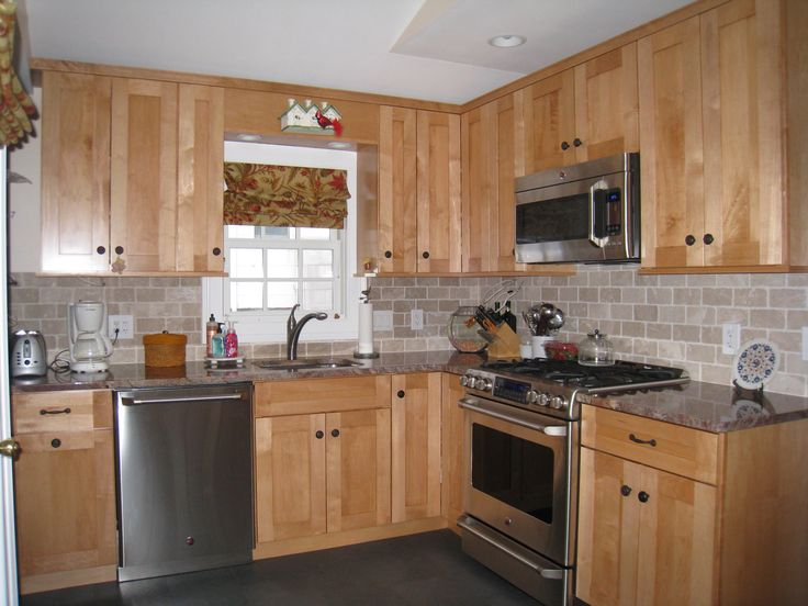 Best Oak Cabinets White Subway Tile Windswept Blue Walls 400 x 300
